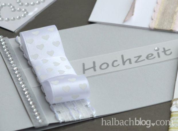 halbachblog I DIY I Hochzeitseinladungen Grau Weiß I Bänder I