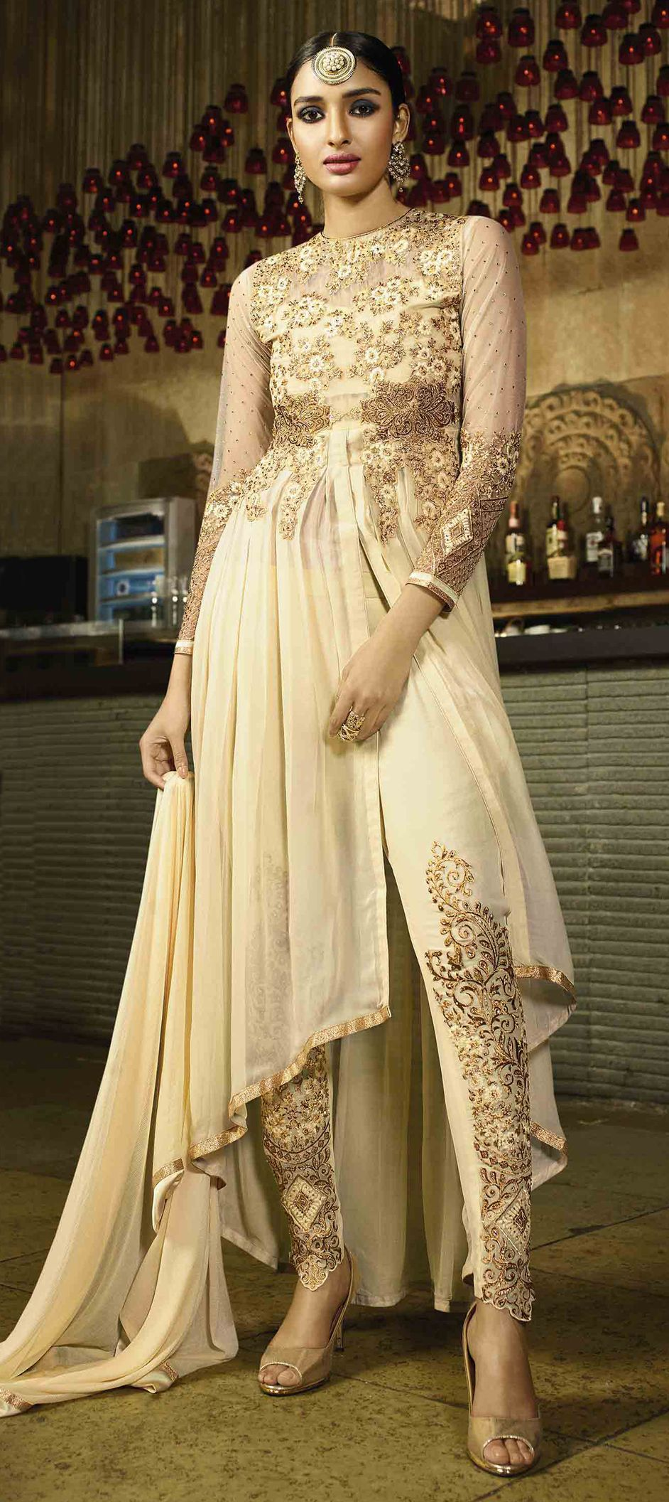 beige and brown color family stitched party wear salwar