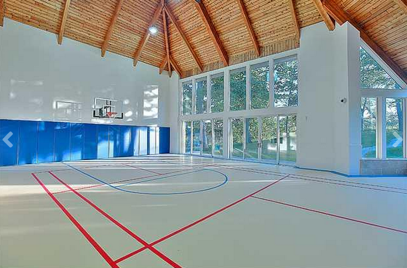 18 000 Square Foot Stone Mansion In Mississauga Canada Indoor Basketball Court Indoor Basketball Indoor Sports Court