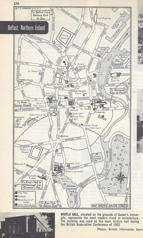 Belfast Northern Ireland Map City Map Street Map 1950s Europe