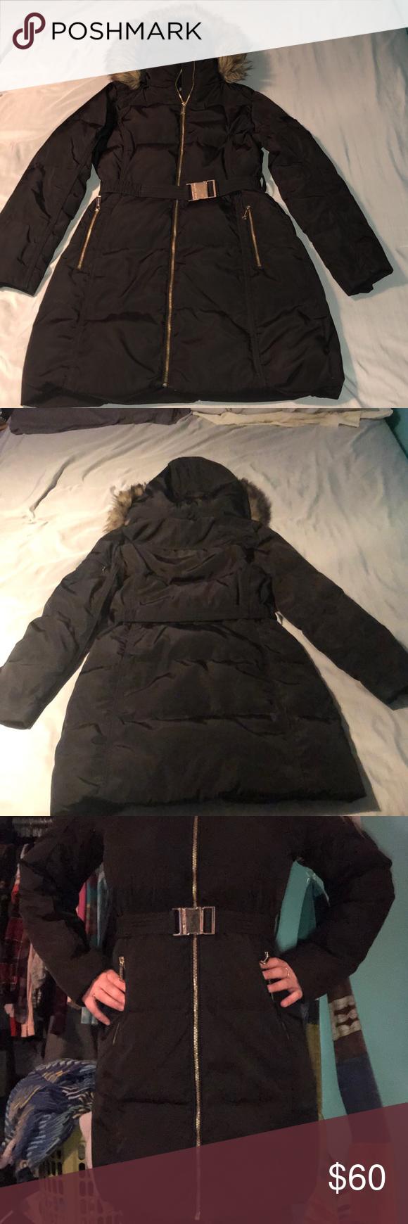 Woman Coats womans puffer coat with fur hood