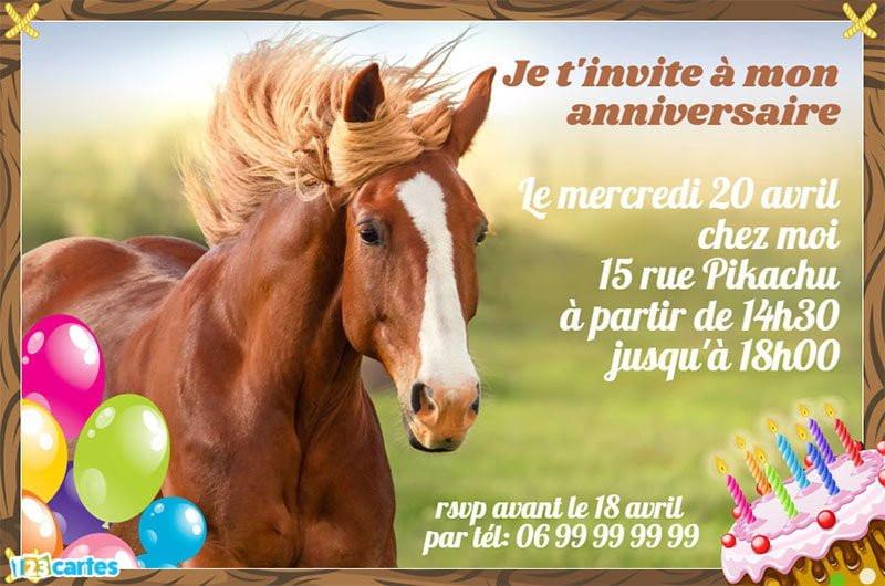 Carte D Invitation Anniversaire Chevaux Gratuite A Imprimer New Invitation Anniversaire Cheval Au Galop