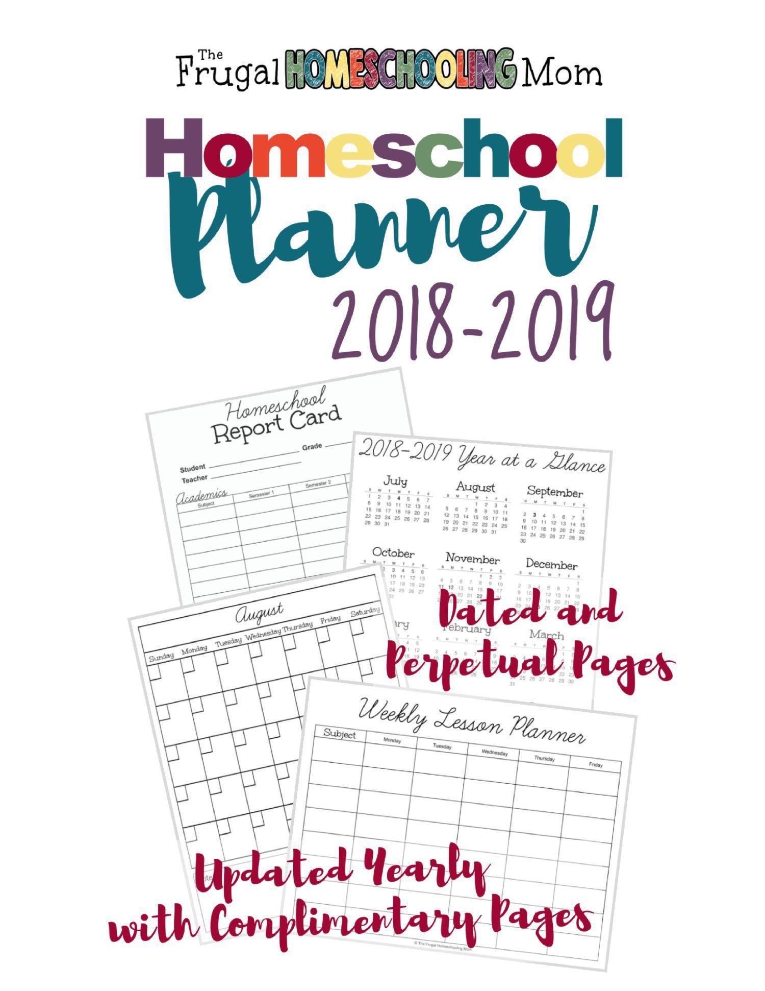 Free Printable Homeschool Planner 20182019 Teacher
