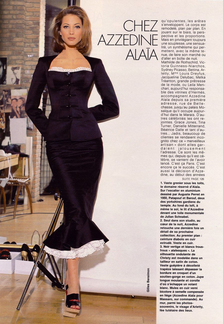 "#vintage Christy Turlington in Azzedine Alaia photographed by Gilles Bensimon for Elle France May 1992 #90s #thesupers ""it's like a totally important designer"""