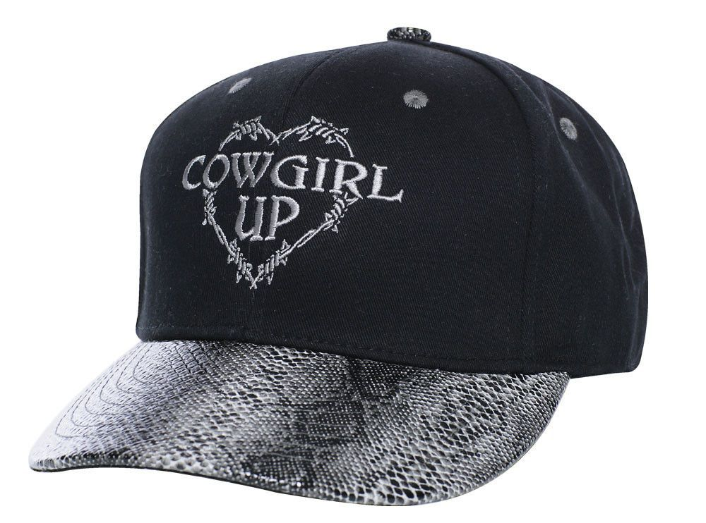 d751fa61406 Cowgirl Up Womens Black Cotton Faux Snakeskin Barbed Wire Heart Ball ...