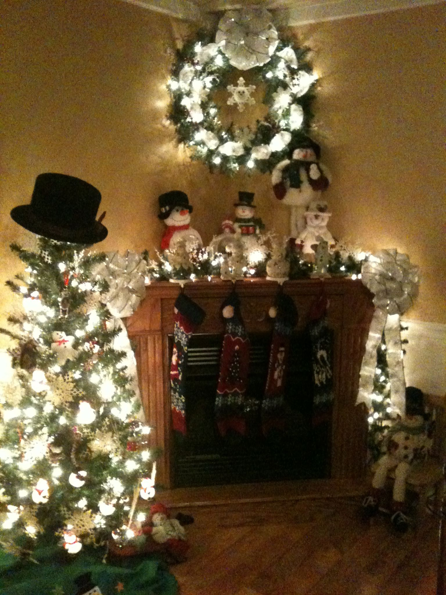 My Corner fireplace decorated for Christmas