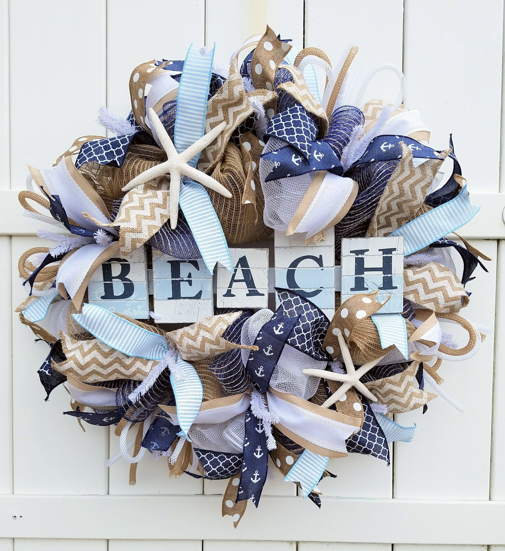 Beach Wreath Beach Deco Mesh Wreath Beach Burlap Wreath Summer