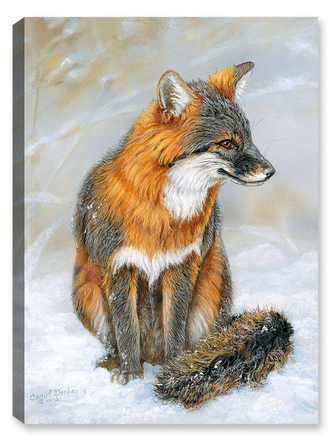 winter gray fox art for fox sake fox painting fox