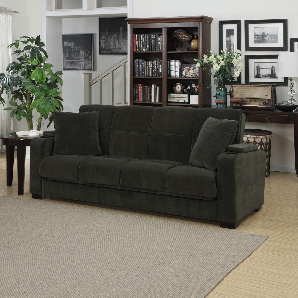 Portfolio Tevin Gray Velvet Convert A Couch Storage Arm Futon Sofa