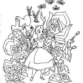 speaking flowers welcoming alice in the wonderland coloring pages - Alice In Wonderland Coloring Pages 2