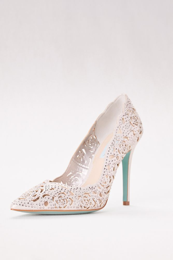 3e850008a41 Crystal Embellished Laser-Cut Pointed Toe Pumps - Silver