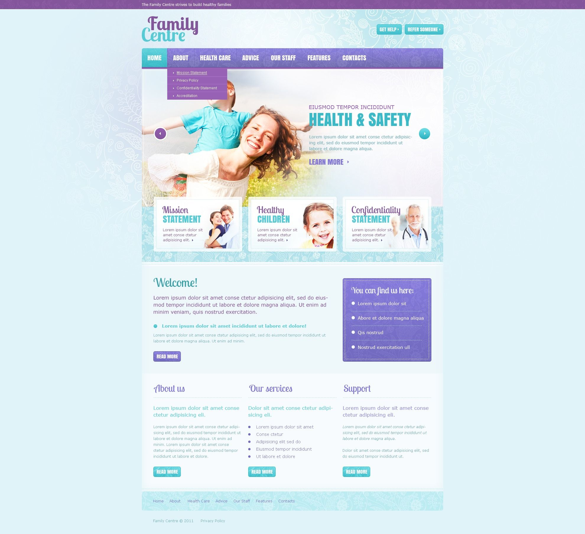 Family Center Website Templates by Mercury
