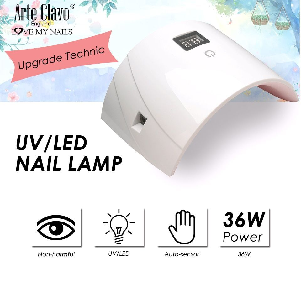 Arte Clavo 36w Gel Nail Lamp Home Use Drying Lamp For Gel Varnish Dryer Machine Arte Clavo 36w Gel Nail Lamp Home Use Dr In 2020 Nail Art Tools Gel Nails Nails