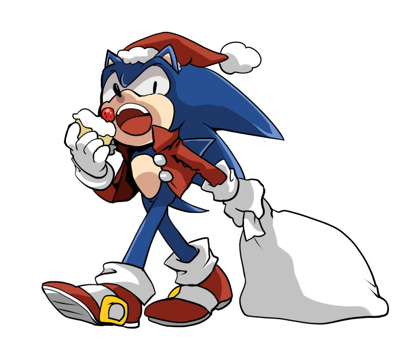 sonic eating and getting ready for christmas