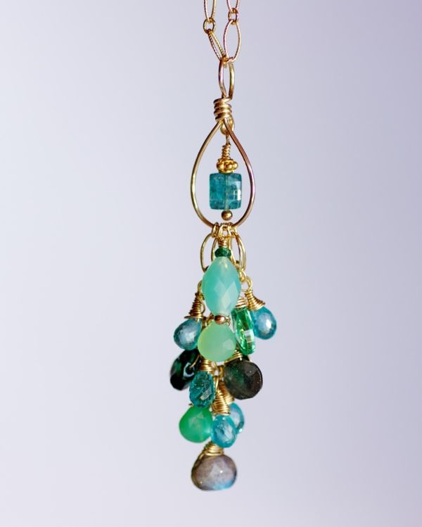 Apatite, Emeralds,  Chrysoprase , Chalcedony and gold. Pure nature girl!
