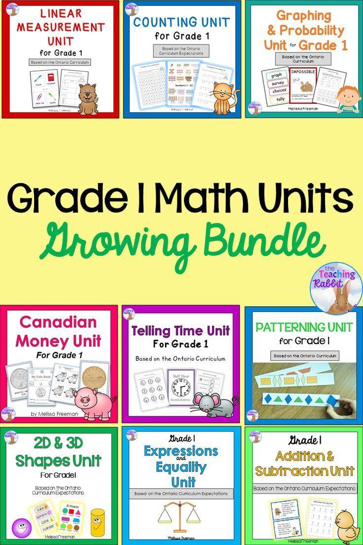 Grade 1 Math Units FULL YEAR Bundle Based On The Tario Curriculum