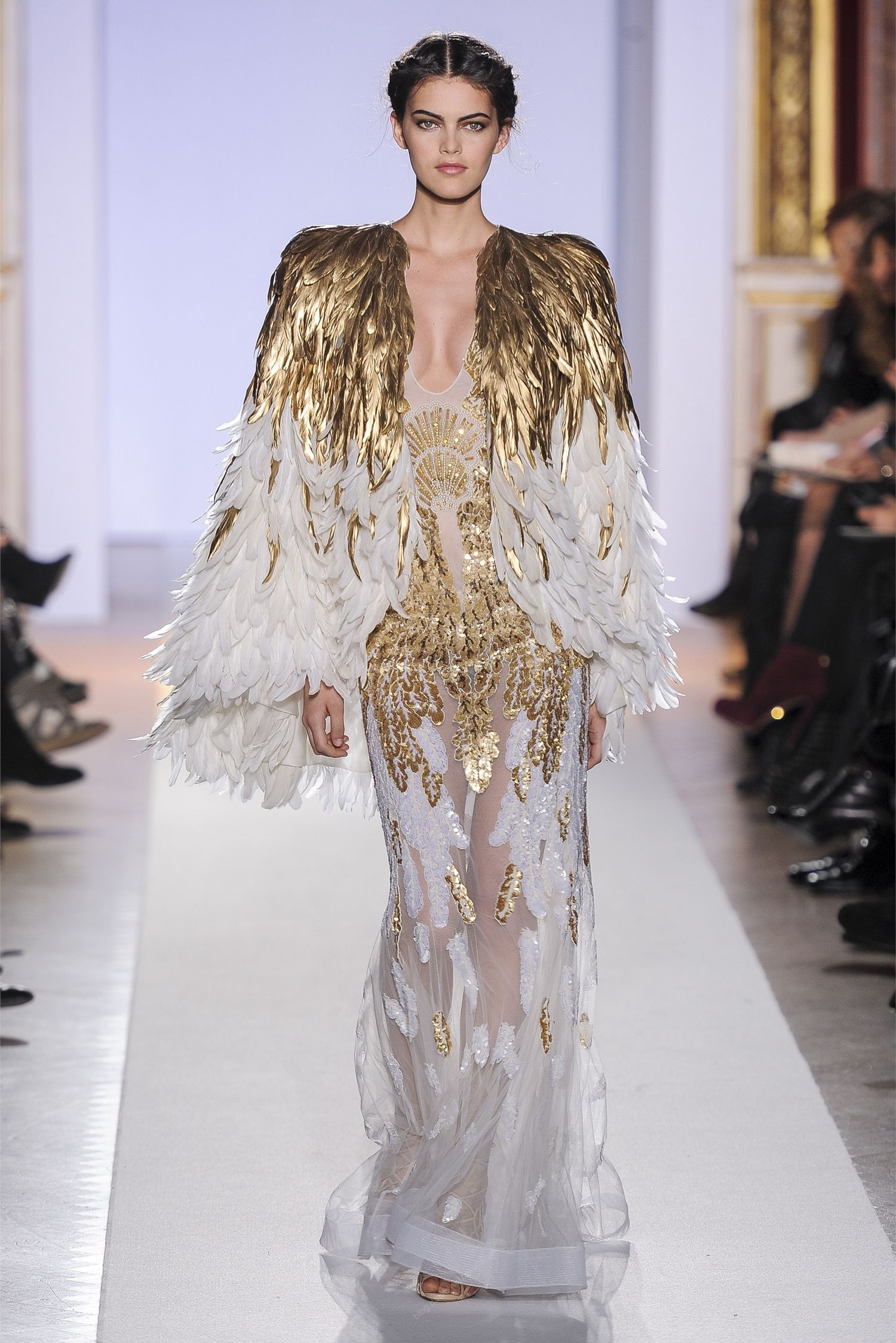 Zuhair Murad White And Gold Dress With Feathered Cloak It Makes Me Think Of Freya S