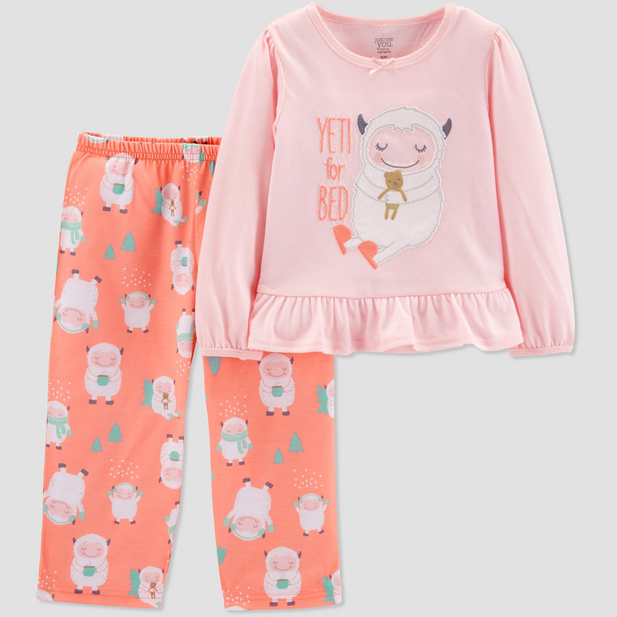 21450c75ee Baby Girls  Yeti 2pc Pajama Set - Just One You made by carter s Coral 18M