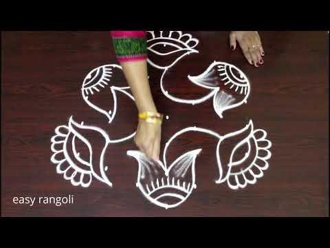 beautiful flower pot rangoli designs latest kolam with dots new muggulu designs youtube