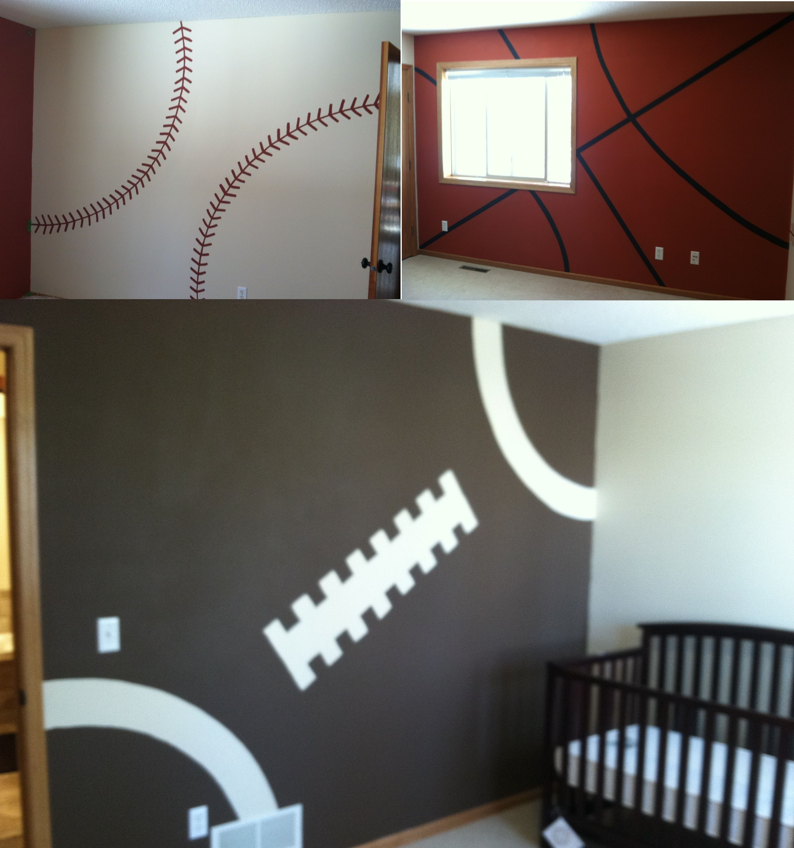 If Caleb Ever Falls In Love With Sports Haha This Is How We Will - Boys room paint ideas stripes sports