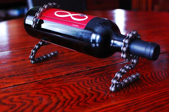 Upcycled Bike Chain Wine Bottle Holder By Upcycling4acause