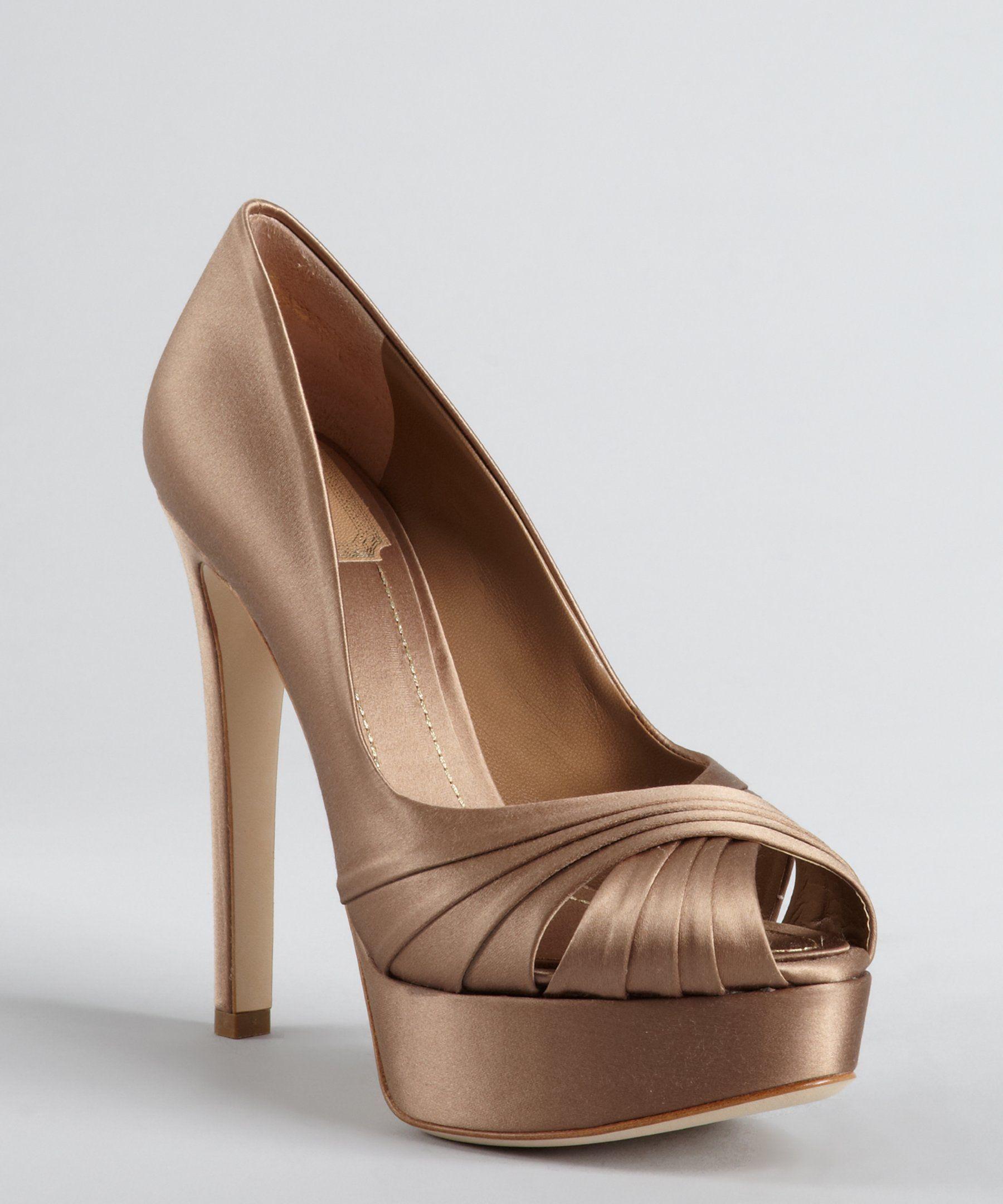Christian Dior taupe satin 'Eclat' peep toe platform pumps | BLUEFLY up to  70