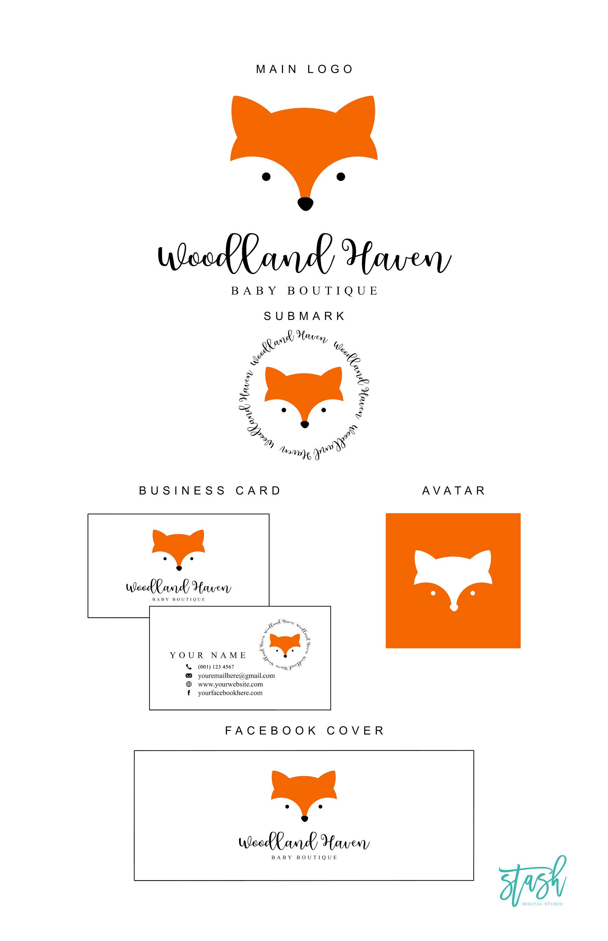 Retire A Logo Fox Logo For B Etsy Fox Logo Design Fox Logo Woodland Logo