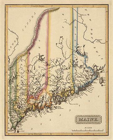 Maine Antique Map Print c1817 Map It Vintage