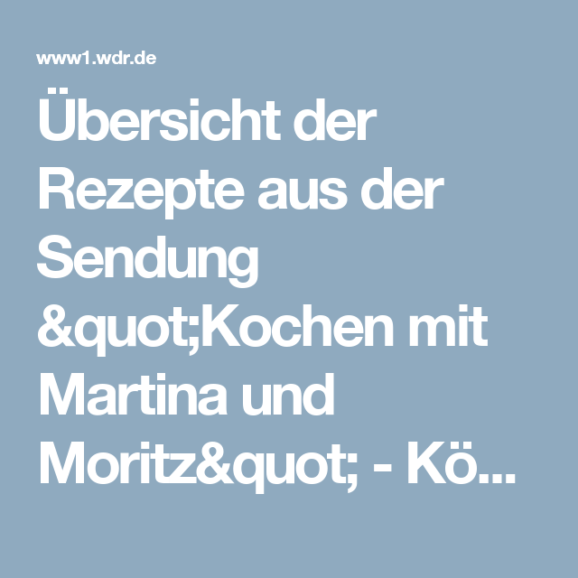Www.Martinaundmoritz.Wdr.De Heute