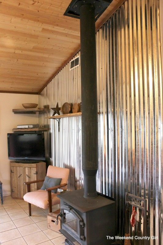 how to use corrugated tin metal sheets as an accent wall ...