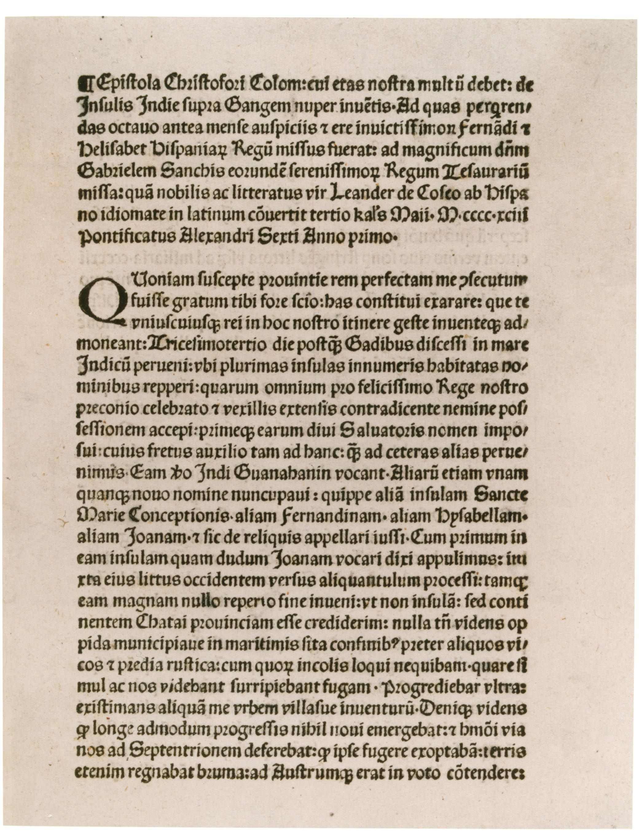christopher columbus u2019s letter to ferdinand and isabella