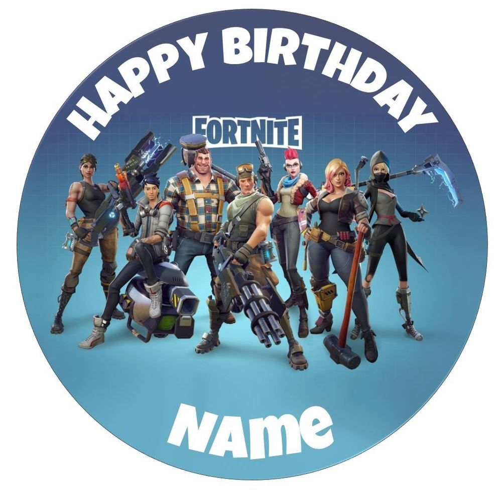 Fortnite Personalised Edible Icing Cake Topper Round