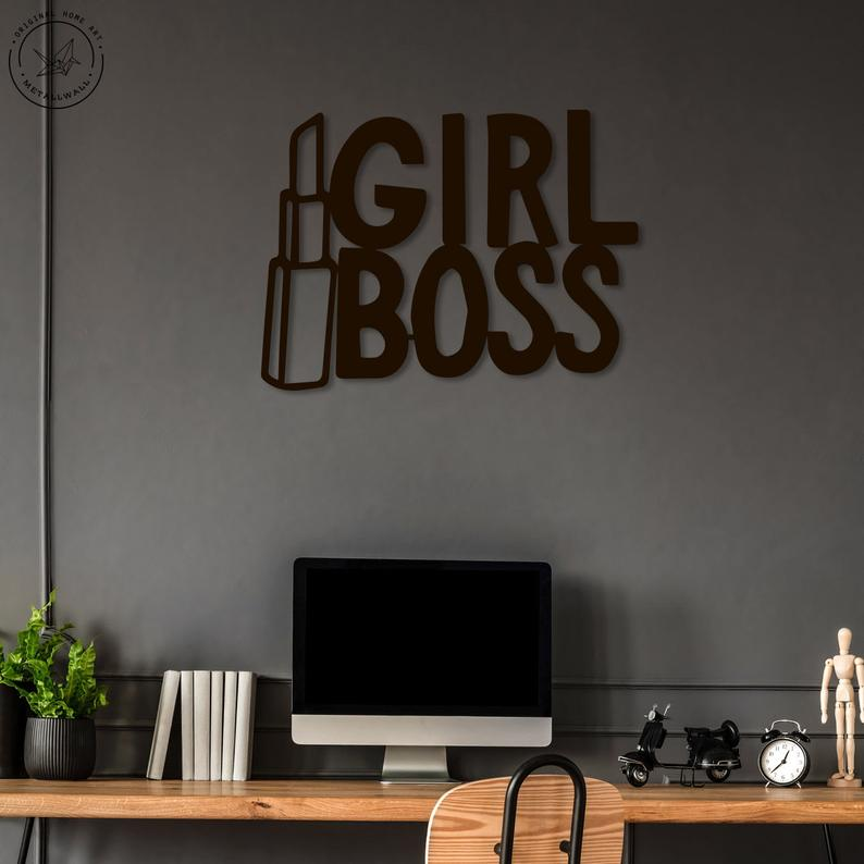 Girl Boss Wall Art Workplace Quote Metal Wall Words Word Wall Art Wall Signs Decor #wall #words #for #living #room