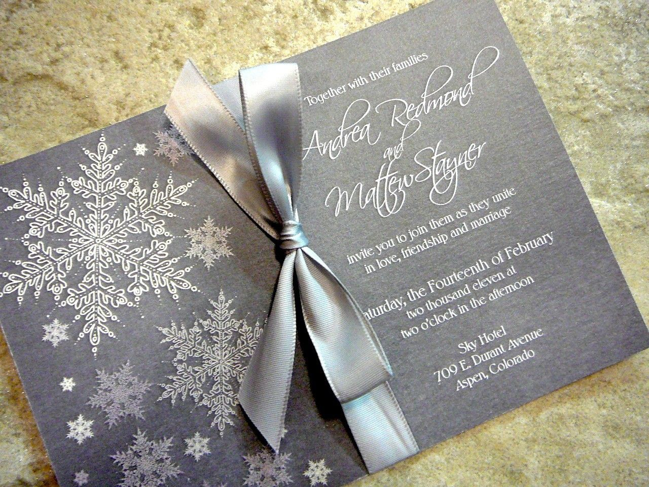 Cool and Frosty Invitations SNOWFLAKE Sample Grey with