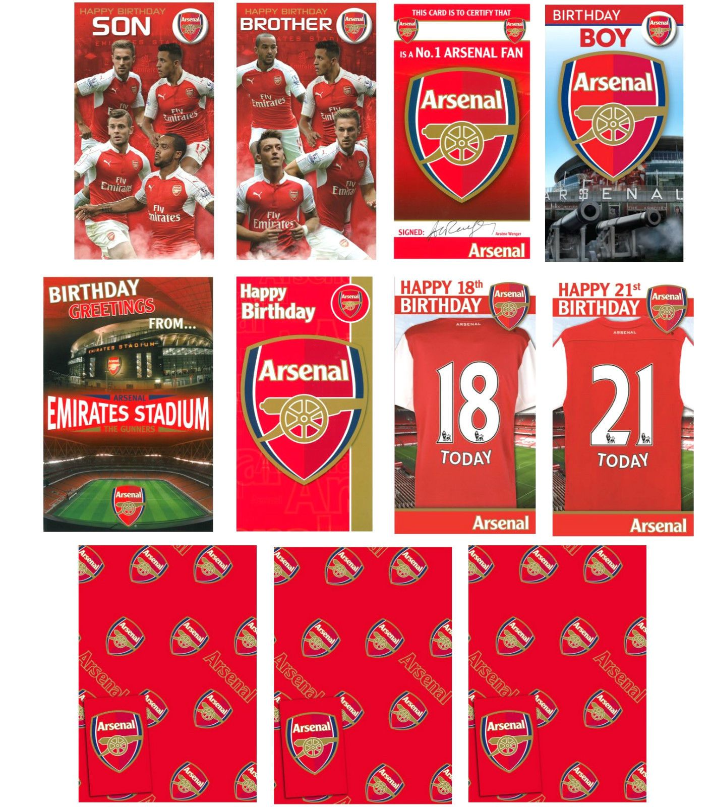 Official Arsenal Football Birthday Cards Gift Wrap Brother Son