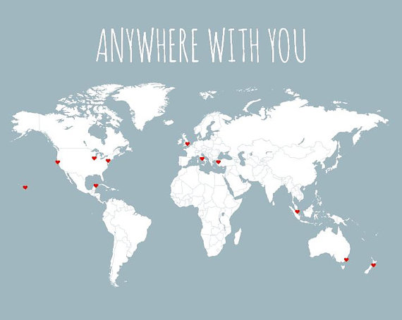 Husband Gift World Map Travel Map DIY Gifts for Him Anywhere