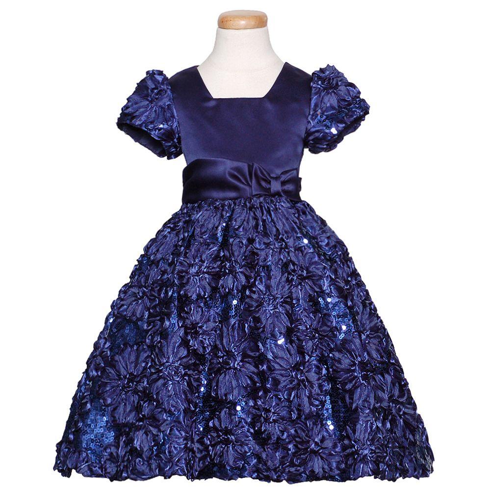 Blue christmas dress 4t - Details About Rare Editions Navy Blue Sparkle Floral Christmas Dress Girls 3m 4t