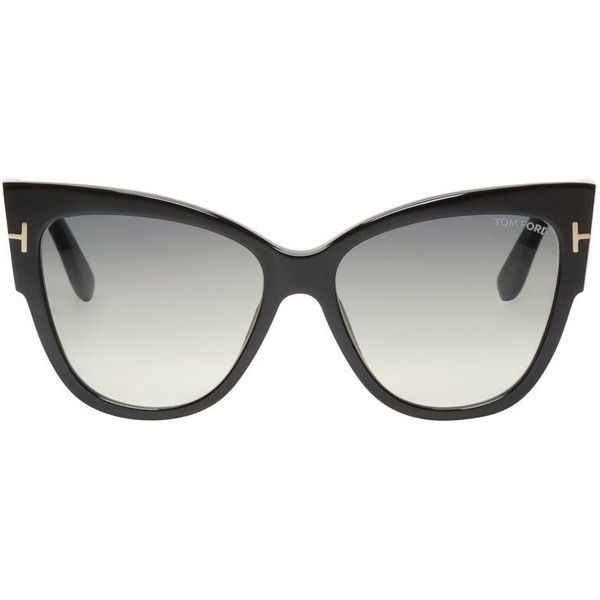 cat eye inspired acetate sunglasses in black signature silver tone t at temple hinges gradient lenses in grey with uv protection