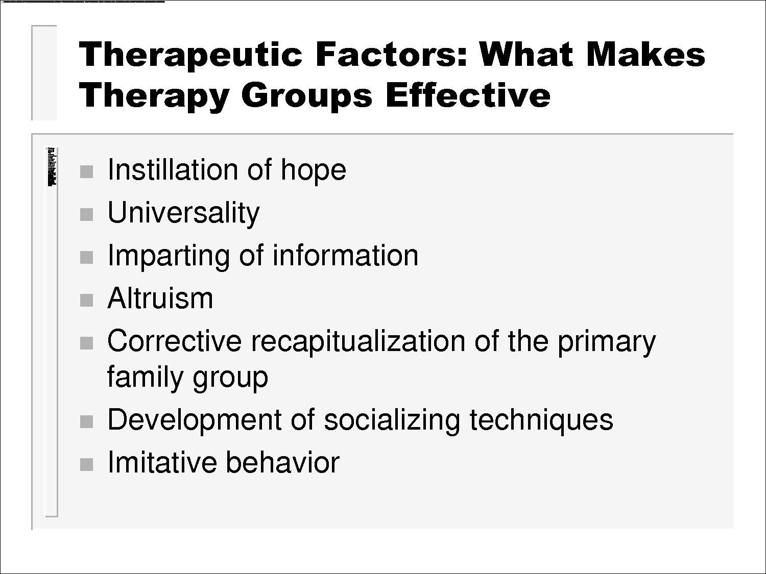 Yalom Group Therapy Techniques