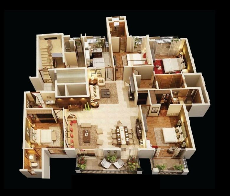 "3 To 4 Bedroom Apartments Near Me: 50 Four ""4"" Bedroom Apartment/House Plans"