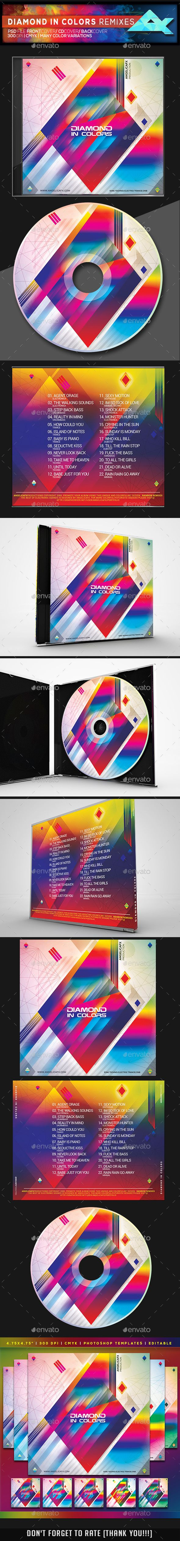 diamond in colors cd dvd photoshop template psd cd dvd cover