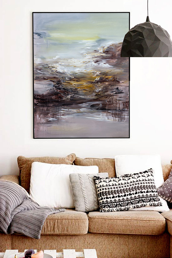Contemporary Artwork Living Room Furniture San Diego Abstract Painting Art Oil Extra Large Wall Hand Made Acrylic Canvas Blue Yellow White Black Brown Original Works