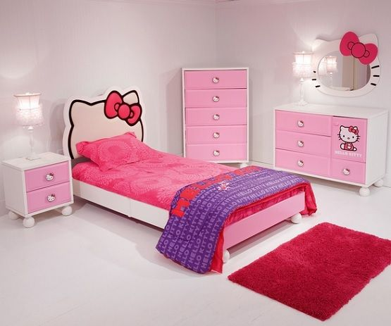 Hello Kitty Kid Beds And Storage Furniture Sets Home Interiors - Hello-kitty-bedroom-set-interior