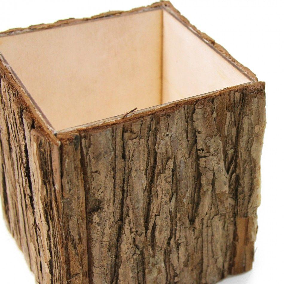 Natural Wood Bark Cube Vases 404463 Wholesale Wedding
