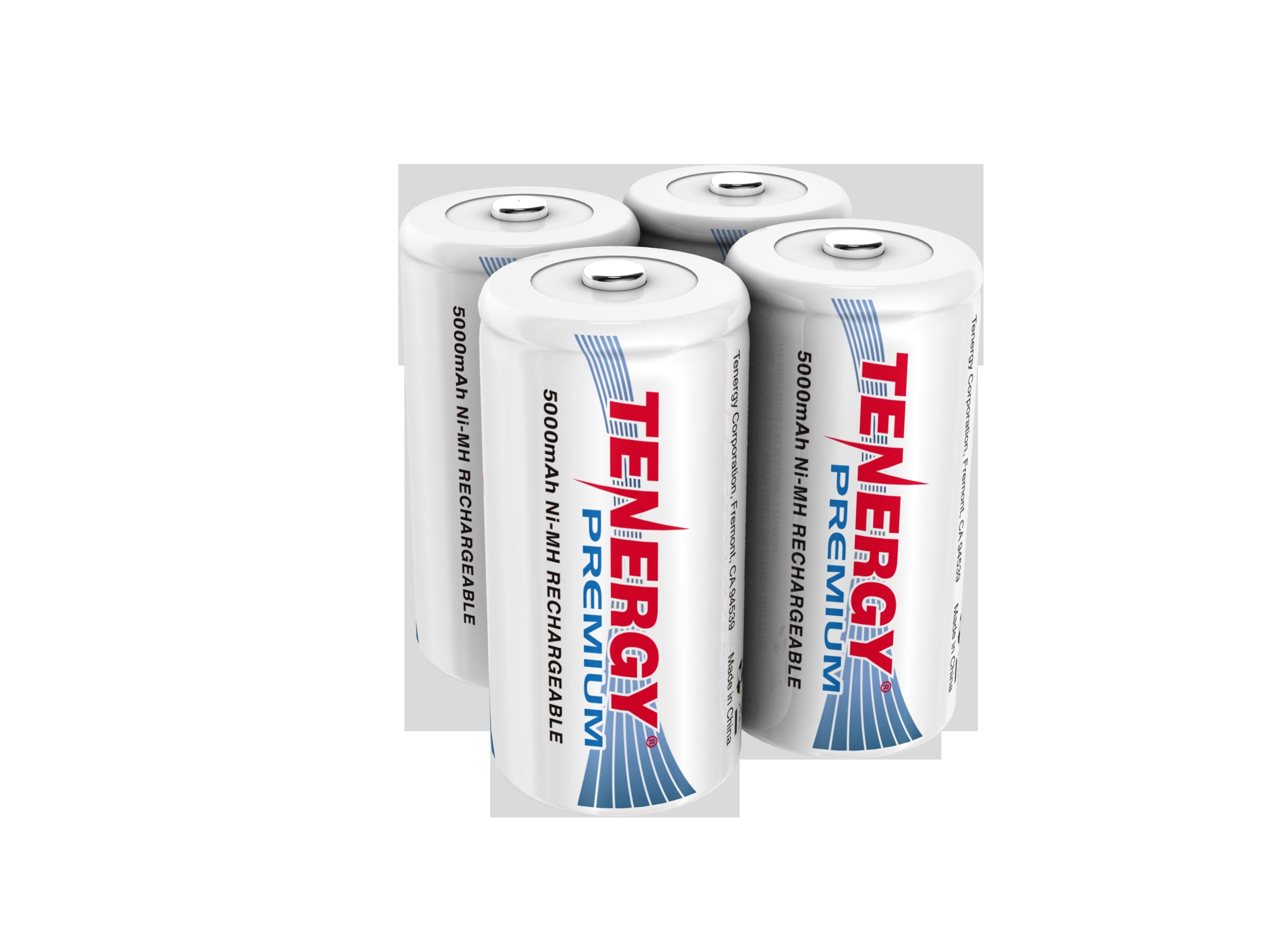 Combo 4 Pcs Tenergy Premium C 5000mah Nimh Rechargeable Batteries Rechargeable Batteries Nimh Household Batteries