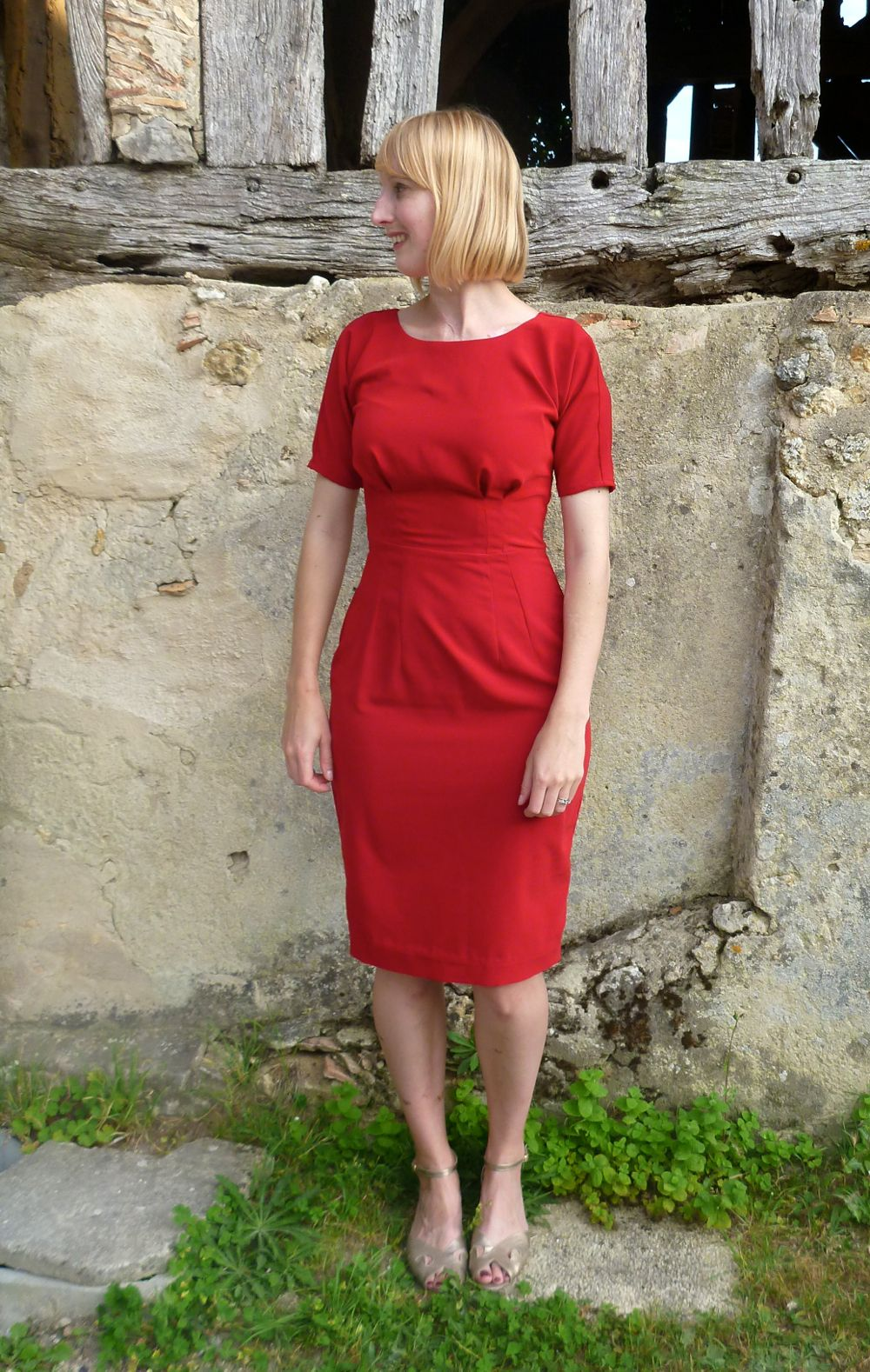Red crepe Annalotte dress from By Hand London