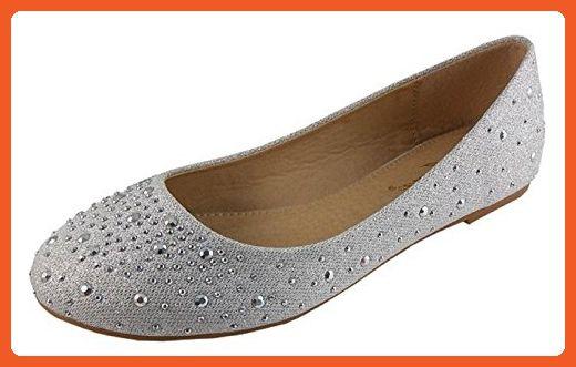 38eade7359b79 IYNX Womens Elisa-2 Silver Metallic Stones Flats 8 - Flats for women ...