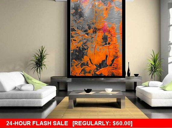 Friday Love SALE Abstract mixed media orange gray fluid art Living