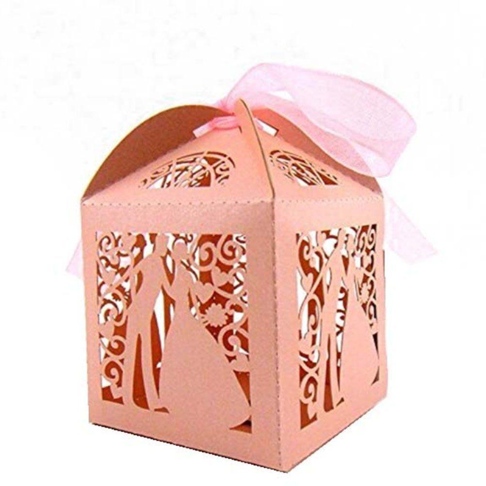 Pixnor 50pcs Wedding Sweets Candy Boxes Gift Favour Boxes Couple