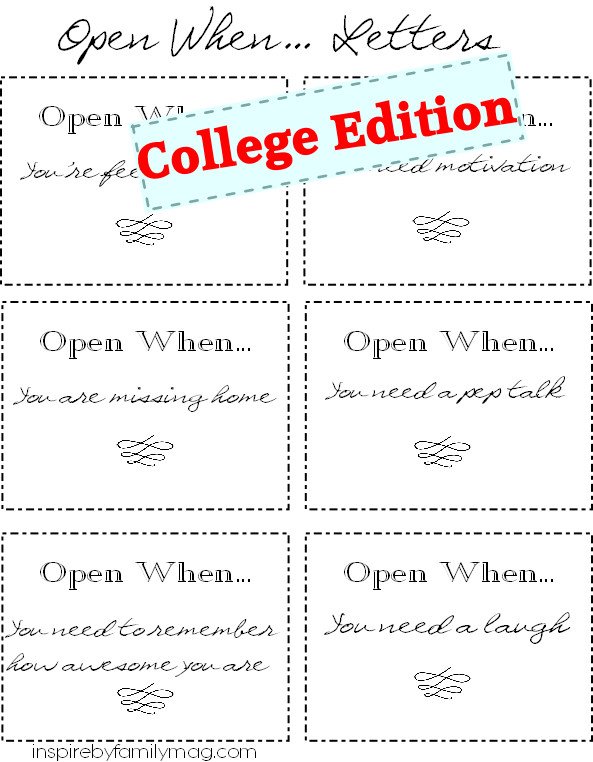 Great College Send Off Gifts: Open When... Letters | College, Gift ...